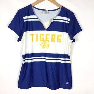 Tiger pride blue & gold spirit graphic sports top
